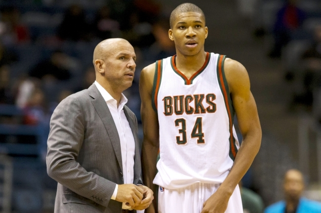 Oct 22, 2014; Milwaukee, WI, USA; Milwaukee Bucks head coach Jason Kidd talks with guard Giannis Antetokounmpo (34) during the fourth quarter against the Minnesota Timberwolves at BMO Harris Bradley Center.  Minnesota won 110-91.  Mandatory Credit: Jeff Hanisch-USA TODAY Sports