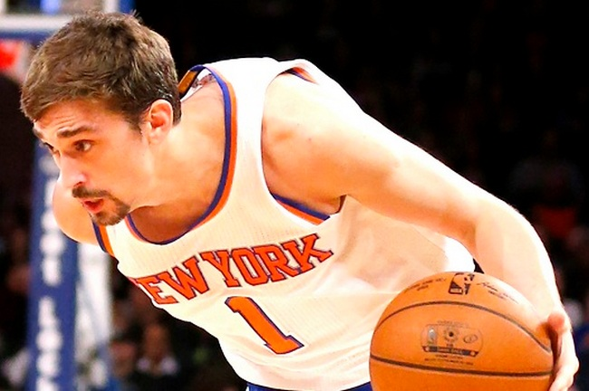 New York, N.Y.  3/03/15 Alexey Shved #1 of the New York Knicks drives to the basket during the first half in an NBA basketball game at the Madison Squared Garden on March 3, 2015.  (Paul J. Bereswill)
